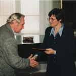 prof. Tadeusz Jałmużna i prof. Józefina Hrynkiewicz podczas uroczystości 5-lecia Uczelni Radziejowice - czerwiec 2001